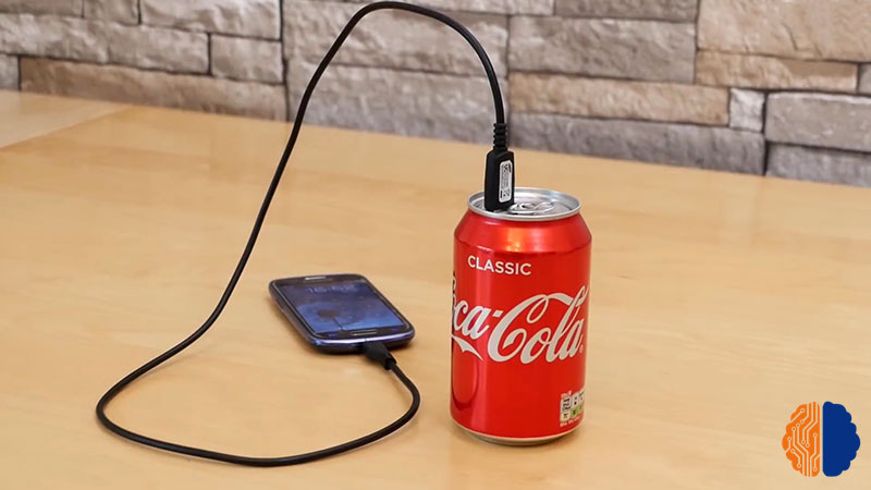 Batterie externe canette de Coca-Cola.