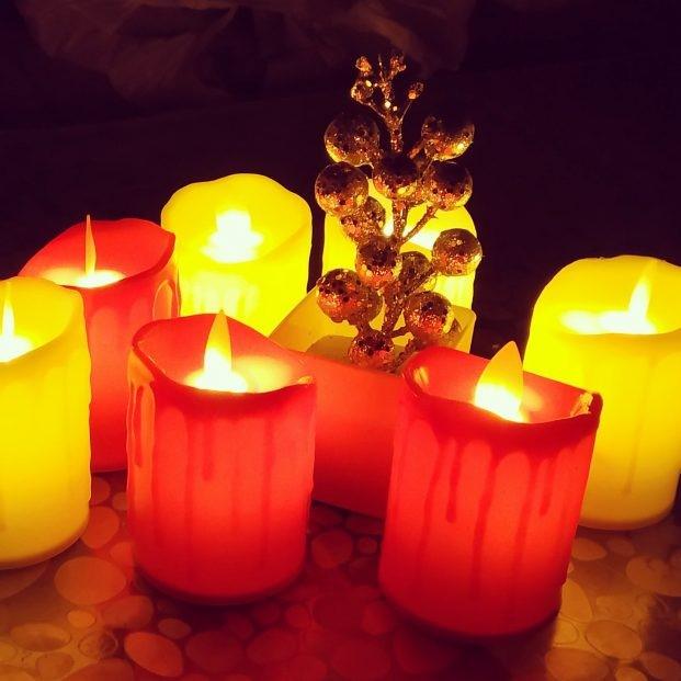 Bougies à LED de Noël recyclées pour la Saint Valentin.