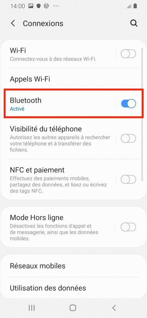 Activer le Bluetooth sur votre smartphone.