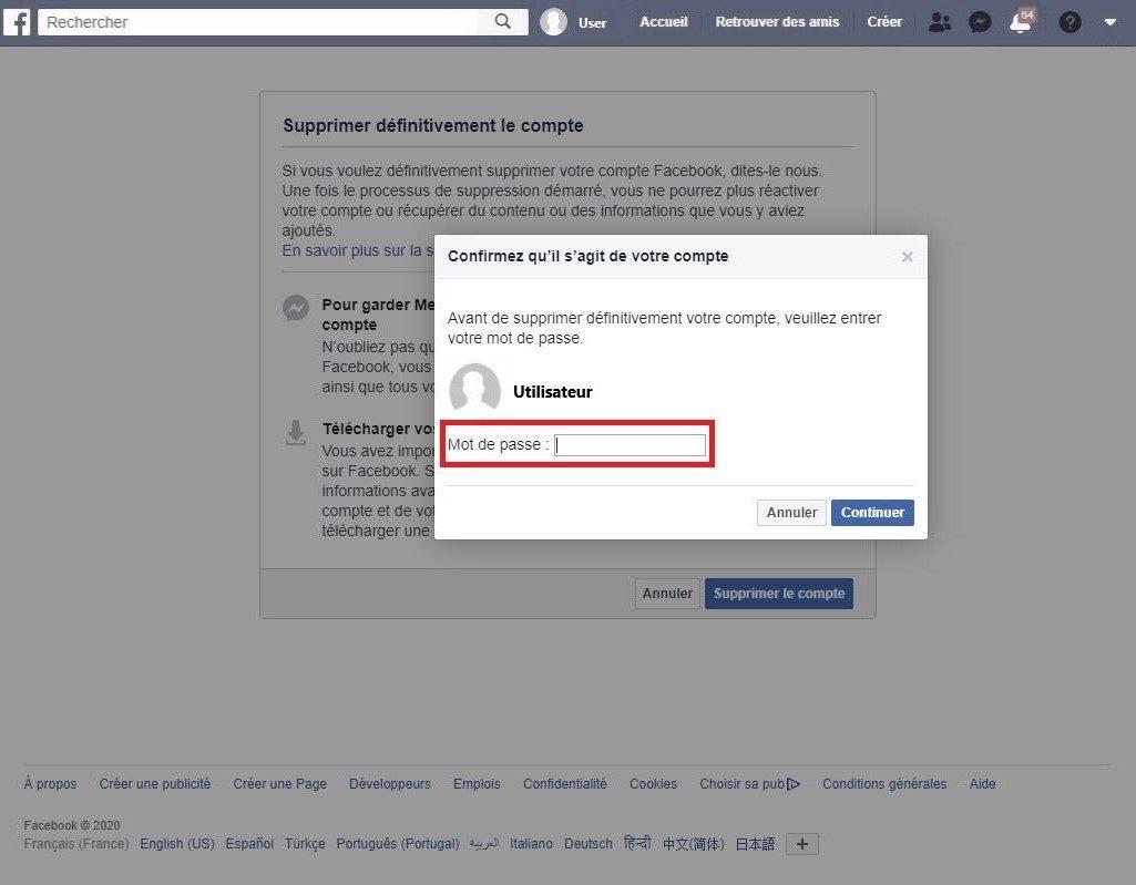 Entrez votre mot de passe pour supprimer votre compte Facebook.