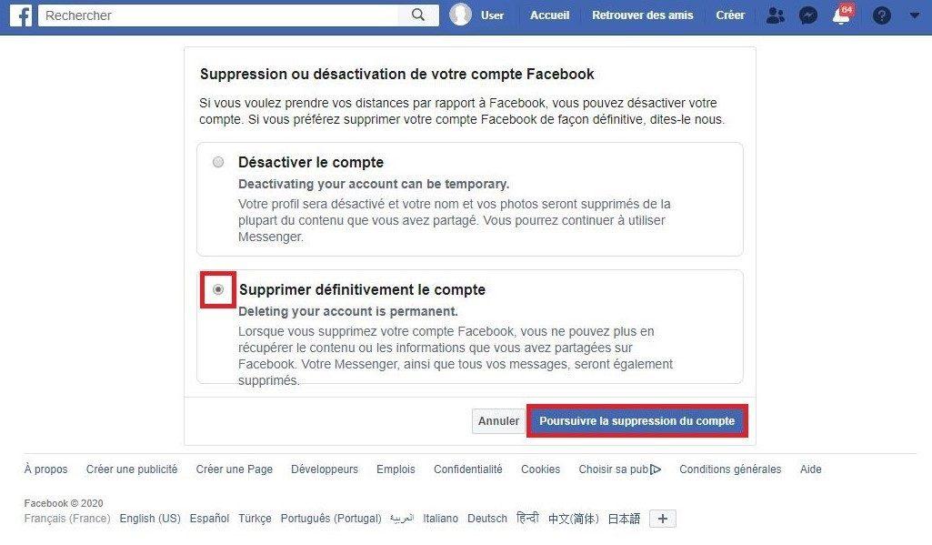 Comment supprimer définitivement son compte Facebook.