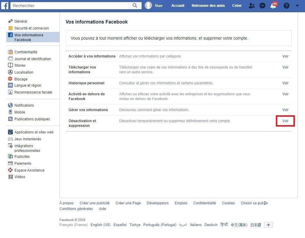Désactiver ou supprimer son compte Facebook.