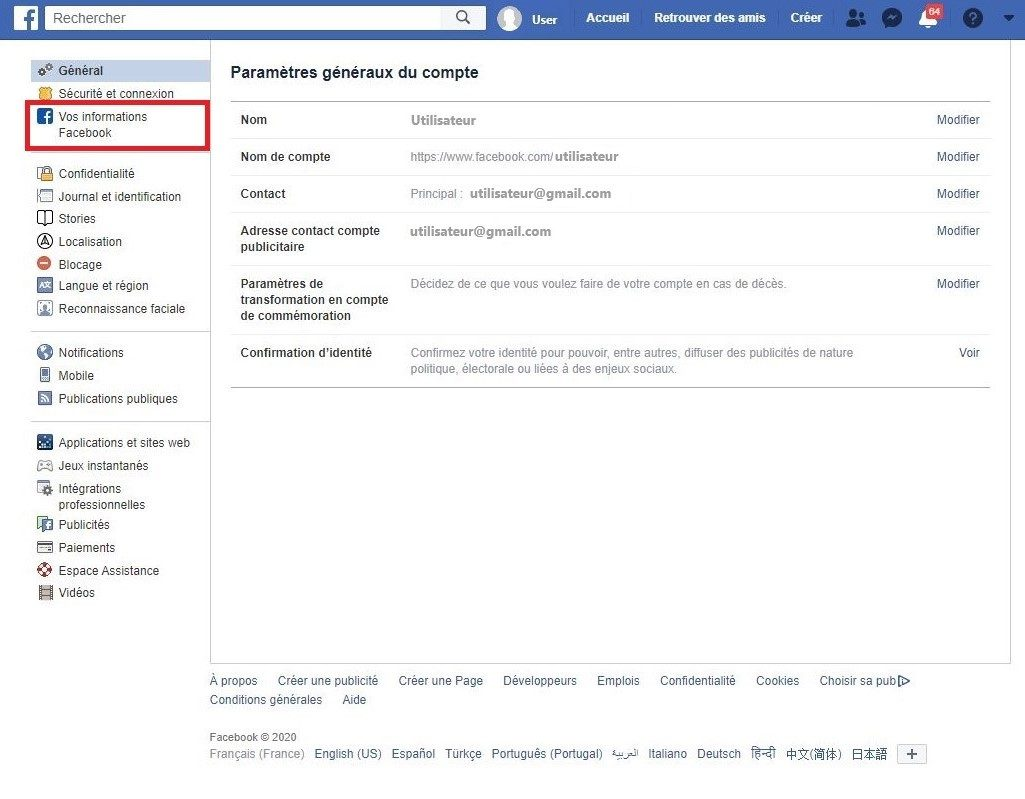 Comment accéder à vos informations Facebook.