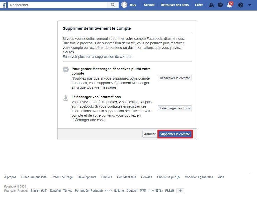Supprimer votre compte Facebook.