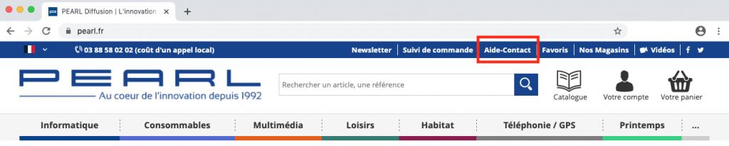 Accéder à la page Aide-Contact sur Pearl.fr.