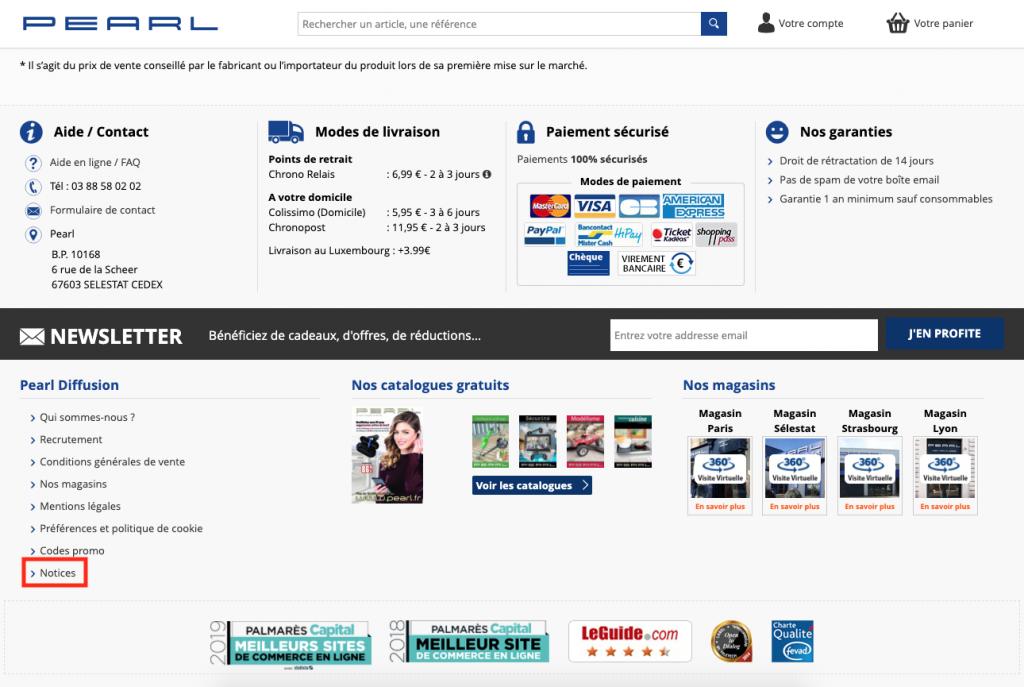 Accéder aux notices dans le pied de page du site Pearl.fr.