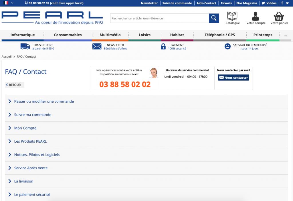 Menu notices, pilotes et logiciels sur Pearl.fr.