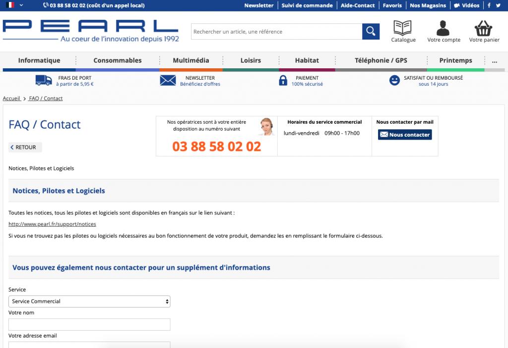 Lien vers toutes les notices produit du site Pearl.fr.