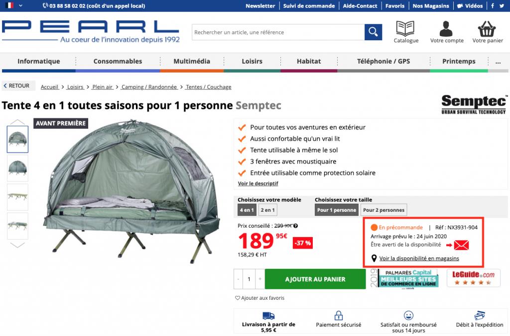 Voir la date d'arrivée d'un produit en stock sur Pearl.fr.