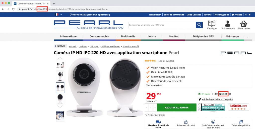 Comment trouver la référence d'un produit sur Pearl.fr.