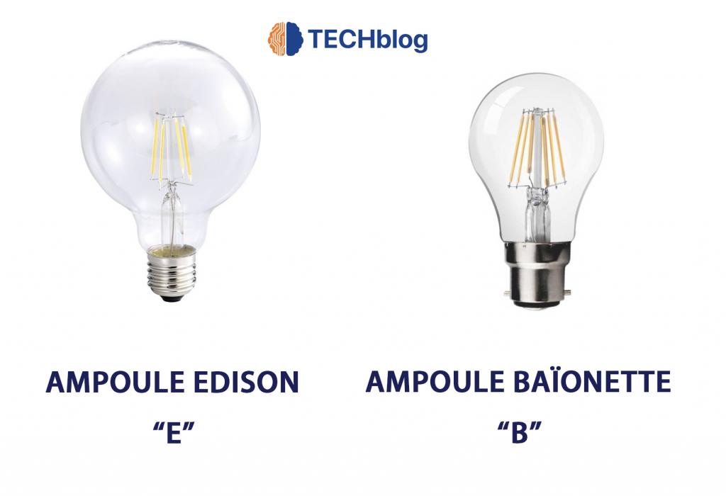 La différence entre une ampoule E edison et une ampoule B baïonnette