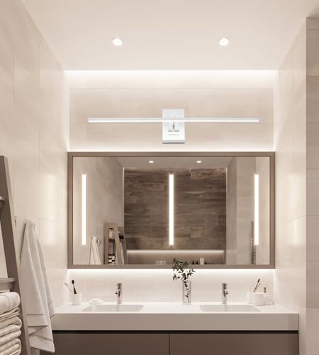 Salle de bain avec LED couleur blanc lumière du jour.
