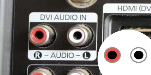 Entrée audio DVI audio sur un téléviseur.