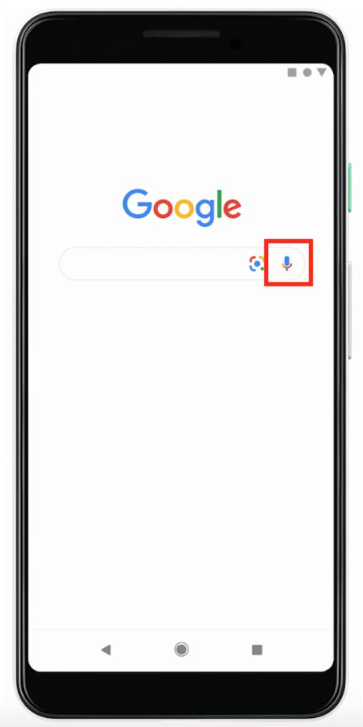 Icône microphone dans la barre de recherche de l'application Google.