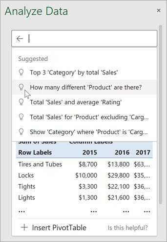 l'option Analyze Data de Microsoft Excel.