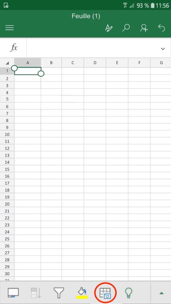 """Le bouton """"Insérer des données provenant d'une image"""" dans l'application Excel sur mobile."""