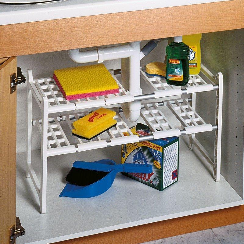 étagère pour dessous de lavabo de salle de bain permettant d'optimiser l'espace
