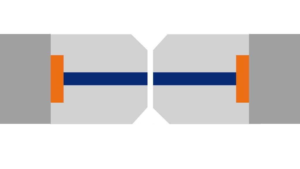Représentation du polissage au contact physique d'une férule de connecteur optique PC.