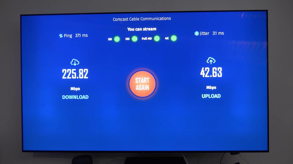 "Aperçu de l'app ""Internet Connexion Speed Tester"" sur Google TV."