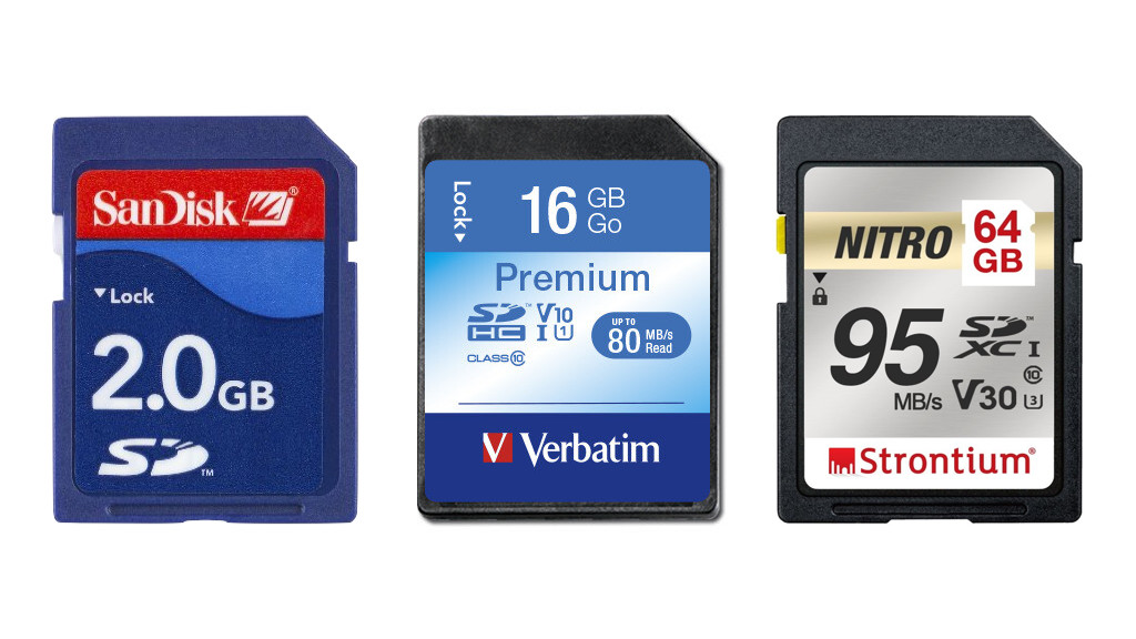 Exemple de cartes SD, SDHC et SDXC.