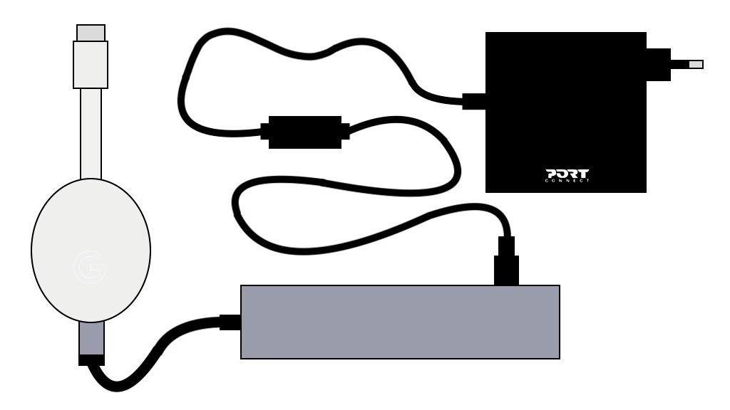 Schéma du branchement d'un boîtier Chromecast sur un Hub USB-C avec une alimentation de 45 W.
