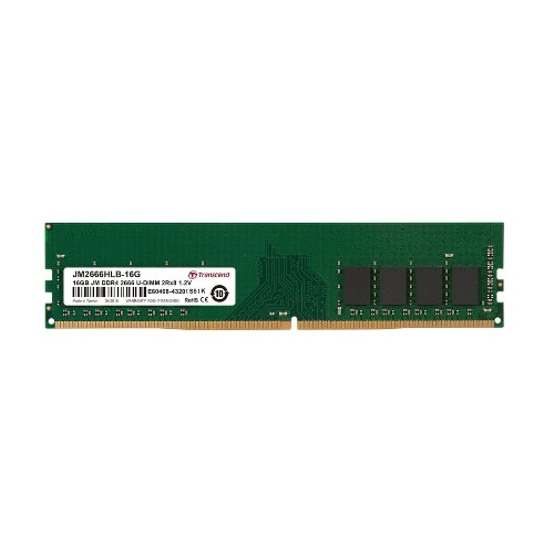 Example of a DDR4 2666 MHz memory module from the Transcend brand.