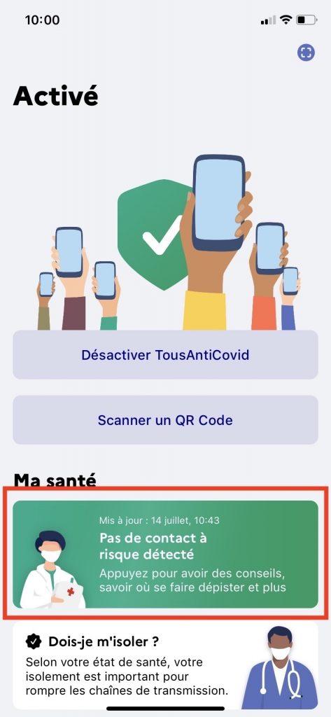 Bouton dans TousAntiCovid pour savoir si vous êtes cas contact.
