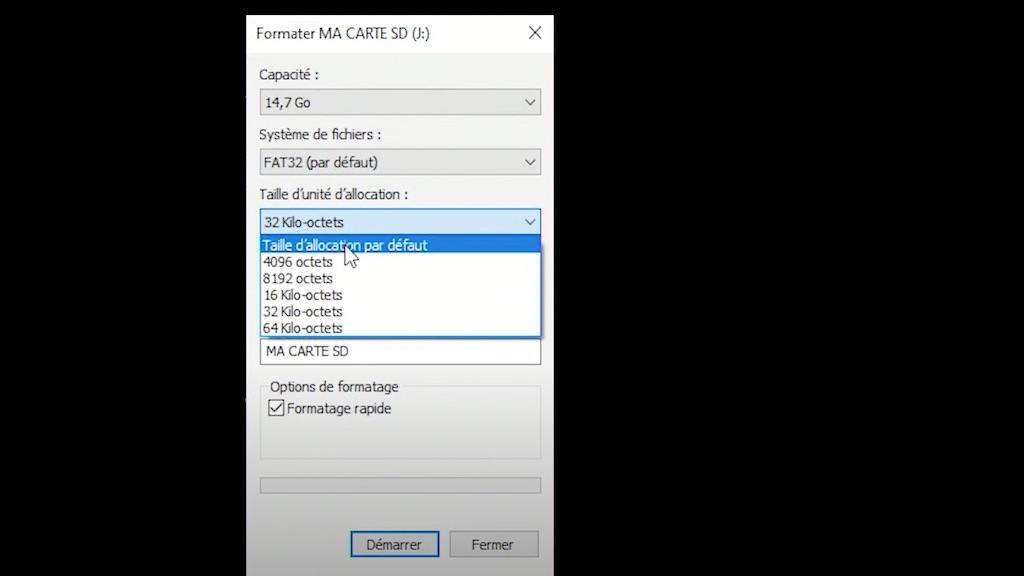 Paramètre de sélection de la taille d'allocation pour une carte mémoire.