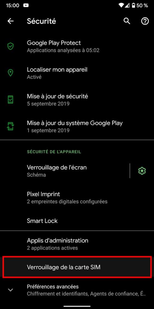 """Le paramètre """"Verrouillage de la carte SIM"""" sous Android."""