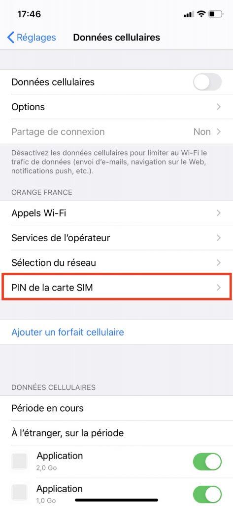"""Le menu """"PIN de la carte SIM"""" dans les réglages de l'iPhone."""
