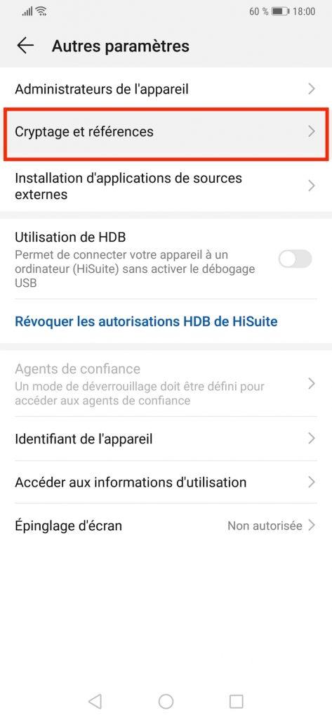 """Menu """"Cryptage et références"""" dans les paramètres du Huawei."""