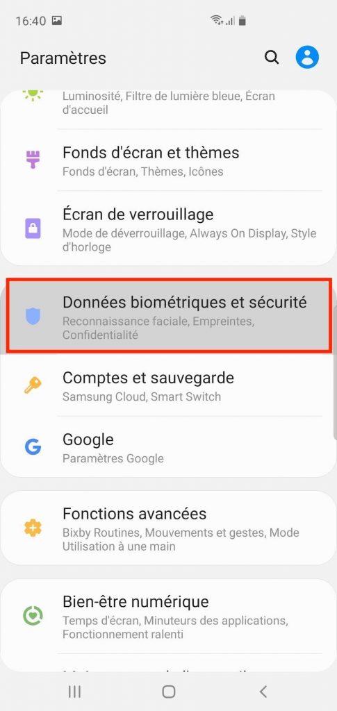 Accès aux données biométriques et sécurité sur un Samsung Galaxy.