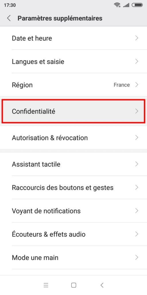 """Le menu """"Confidentialité"""" d'un smartphone Xiaomi."""