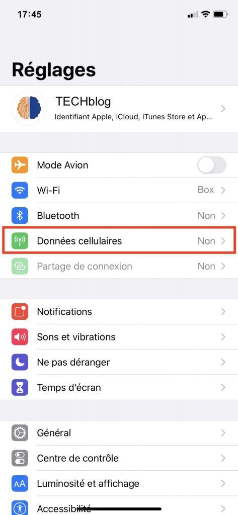Accès aux données cellulaires dans les réglages de l'iPhone.