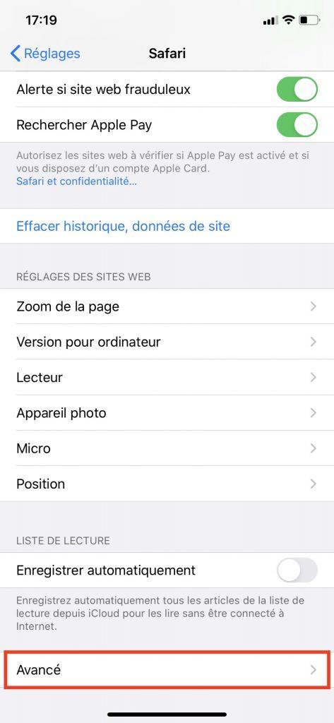 """Les fonctions avancées du menu """"Safari"""" dans les Réglages de l'iPhone."""