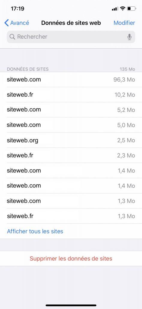 La liste de tous les sites web qui empruntent de l'espace de stockage sur votre iPhone.