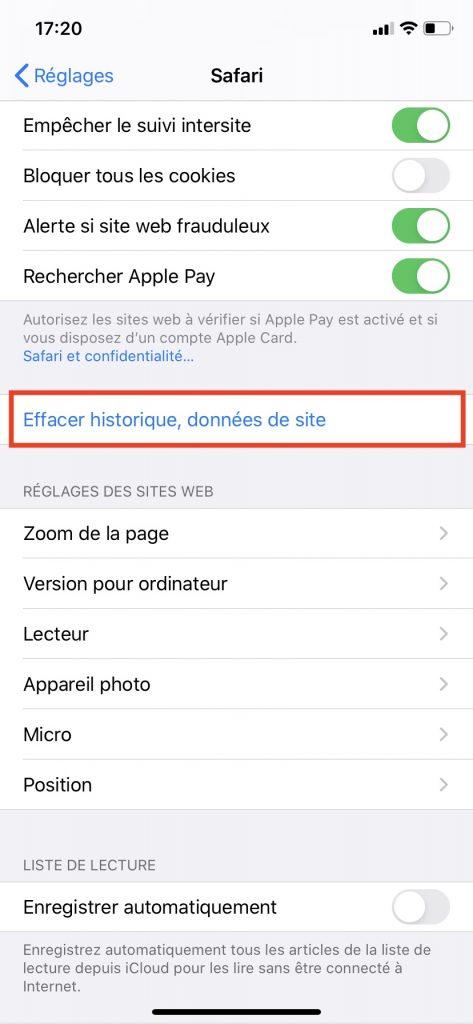 Le bouton pour effacer l'historique de navigation et les données de site collectées par votre smartphone.