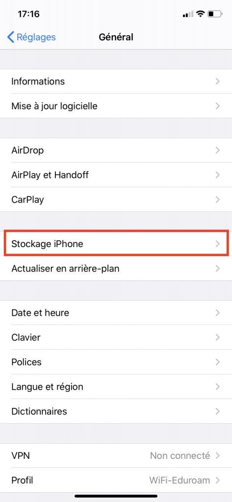 """La gestion du Stockage iPhone dans les """"Réglages""""."""