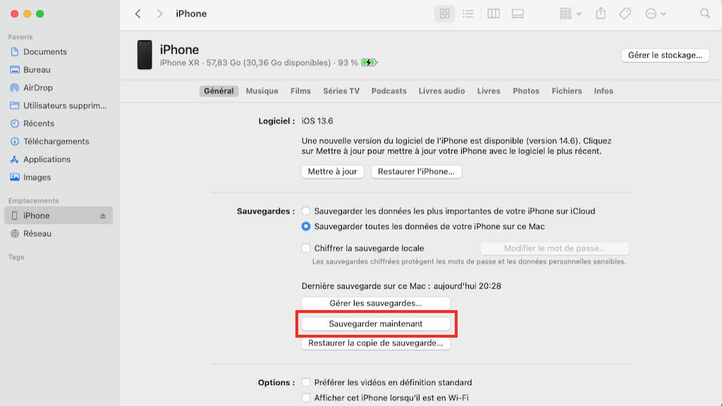Capture d'écran du Finder avec les paramètres de votre smartphone sur Mac.