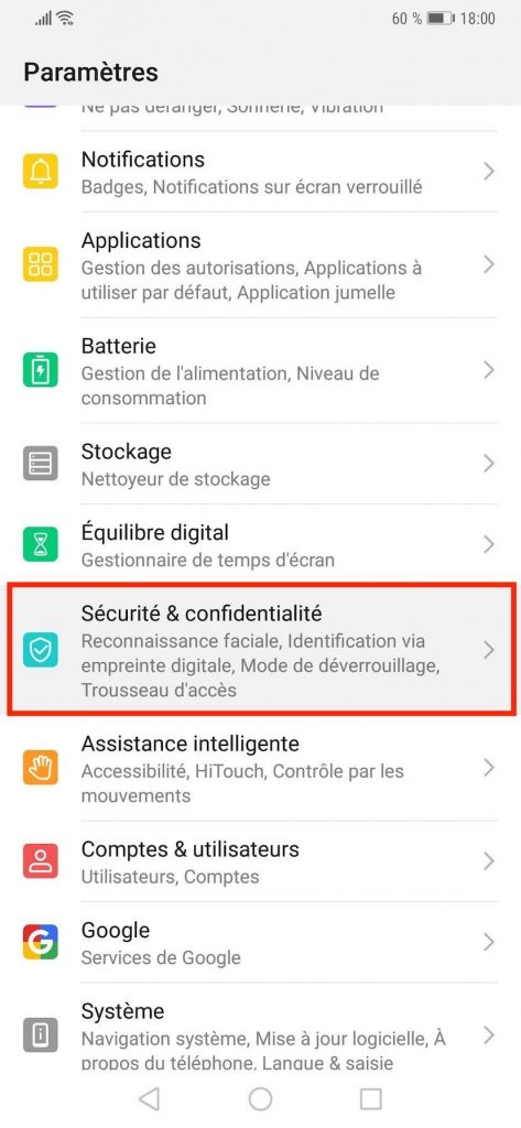 """Paramètres de """"Sécurité & confidentialité"""" sur les smartphones Huawei Technologies."""